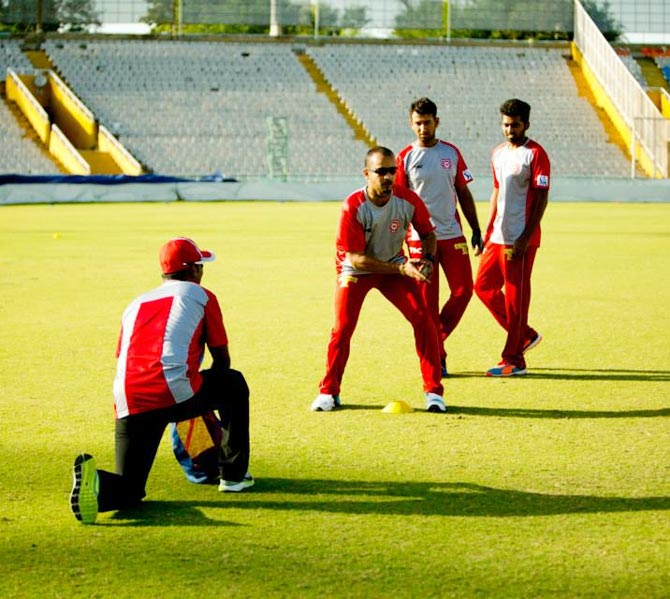 Kings XI Punjab players during a training session