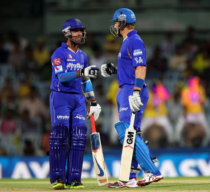 Ajinkya Rahane and Shane Watson during the last IPL season