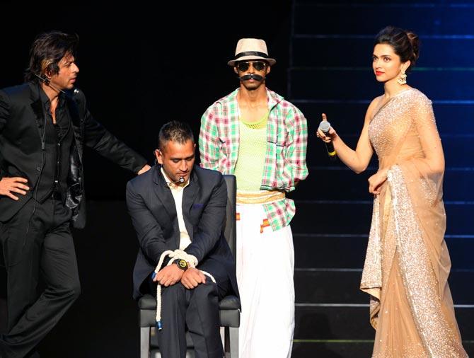 Shah Rukh Khan (left), Mahendra Singh Dhoni (centre) and Deepika Padukone