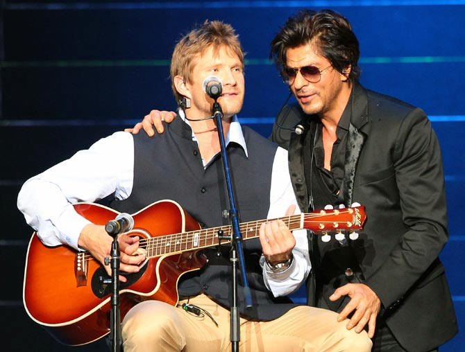 Shane Watson (left) with Shah Rukh Khan