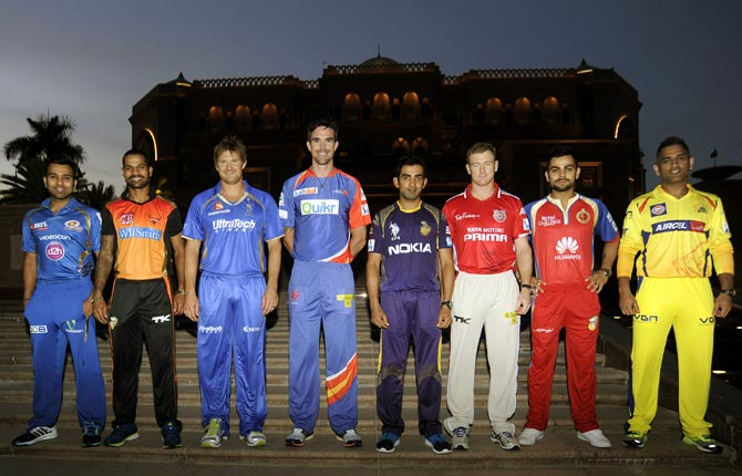 Captains of the eight IPL franchises
