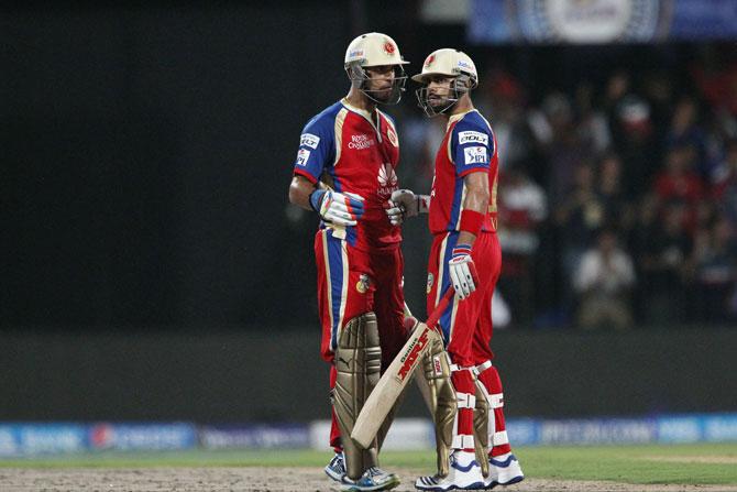 Yuvraj Singh and Virat Kohli of the Royal Challengers Bangalore