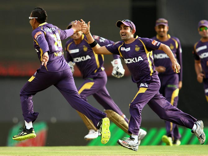 Sunil Narine celebrates after picking up a wicket