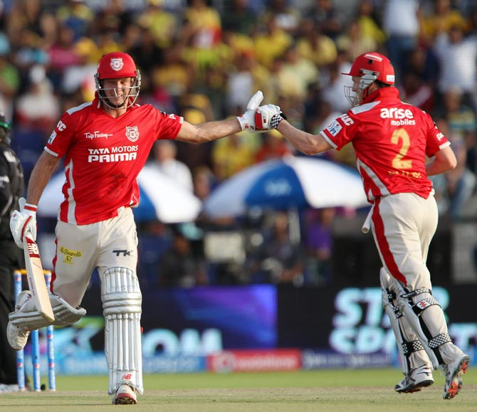 David Miller (left) with George Bailey of Kings XI Punjab