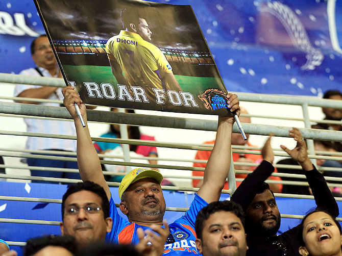 A Mahendra Singh Dhoni fan in the stands on Monday