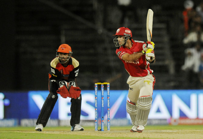 Glenn Maxwell of Kings XI Punjab hits a shot