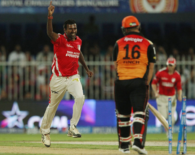 Lakshmipathy Balaji of the Kings X1 Punjab celebrates the wicket of Aaron Finch of the Sunrisers Hyderabad