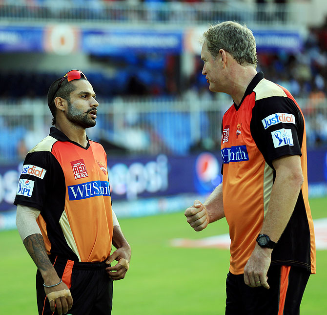 Shikhar Dhawan captain of the Sunrisers Hyderabad with coach Tom Moody