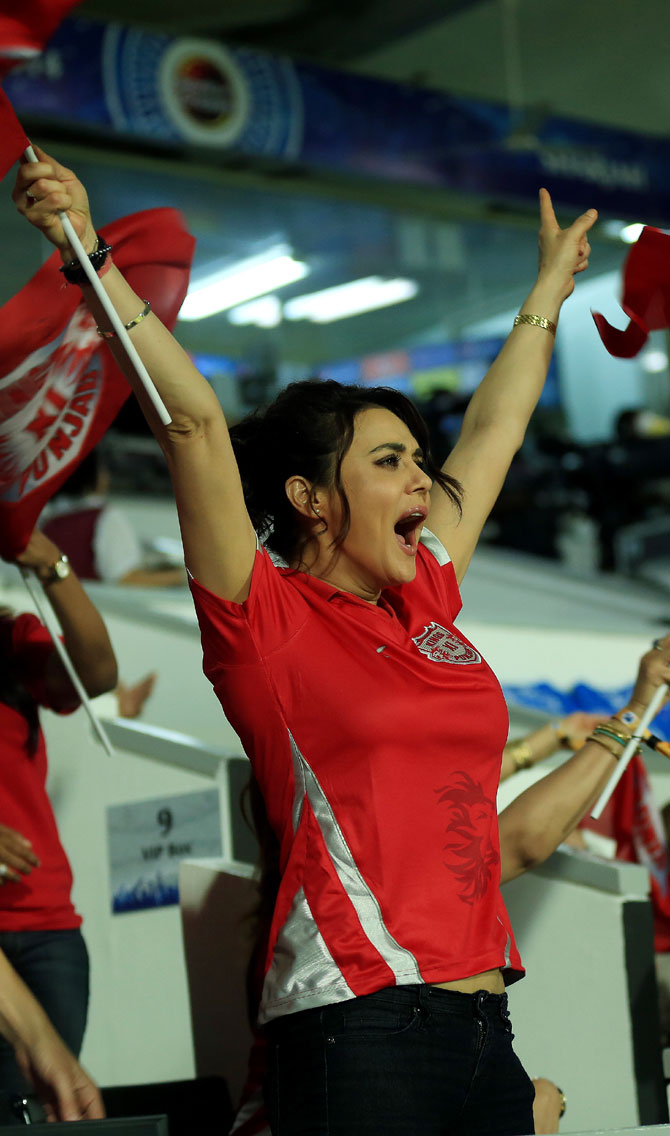 Kings XI Punjab's co-owner Preity Zinta cheers her team on in Sharjah on Tuesday