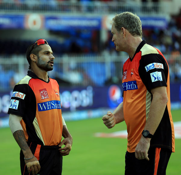 Sunrisers Hyderabad captain Shikhar Dhawan in a discussion with coach Tom Moody