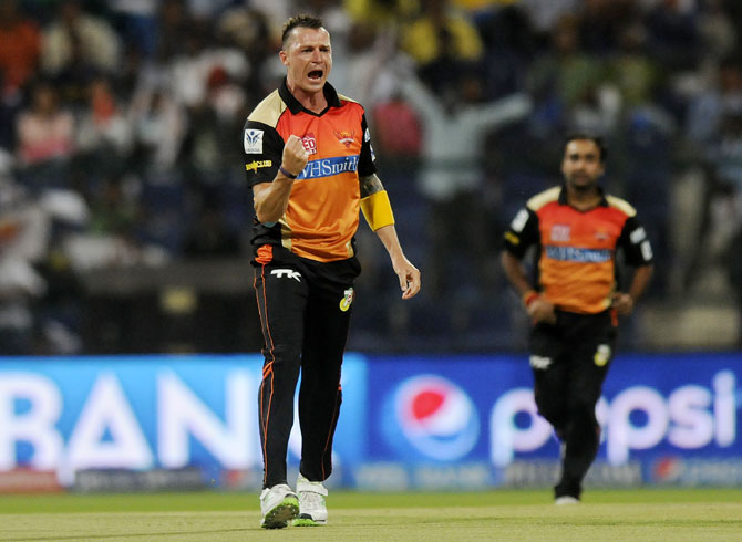 Dale Steyn of Sunrisers Hyderabad celebrates taking a wicket