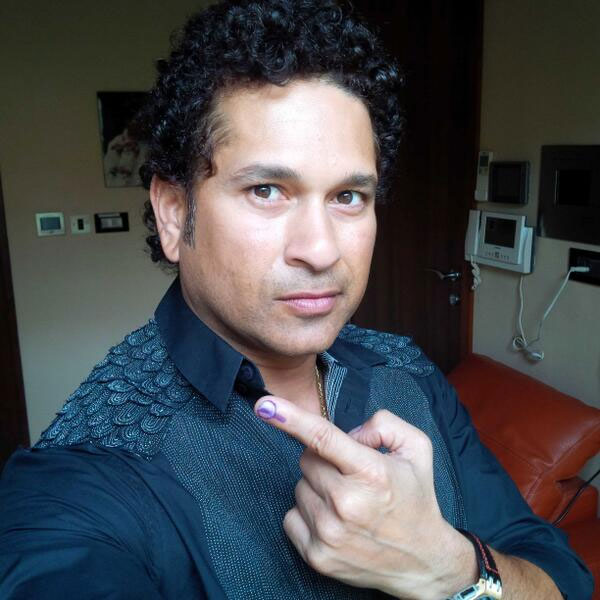 Sachin Tendulkar takes a picture of himself after casting his vote in Mumbai on Thursday