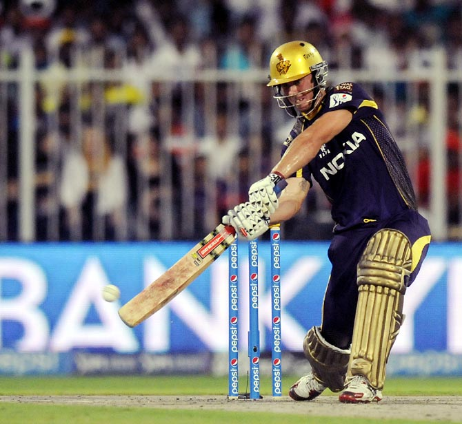 Chris Lynn hits out during his first outing in the IPL