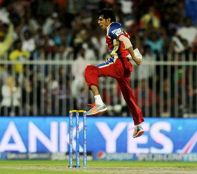 Yuzvendra Chahal celebrates after dismissing Jacques Kallis