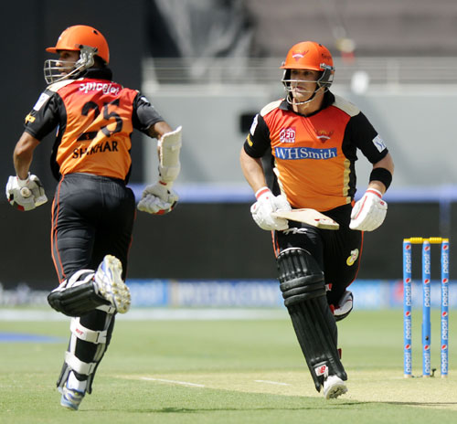 Sunrisers captain Shikhar Dhawan and Aaron Finch scamper for a single