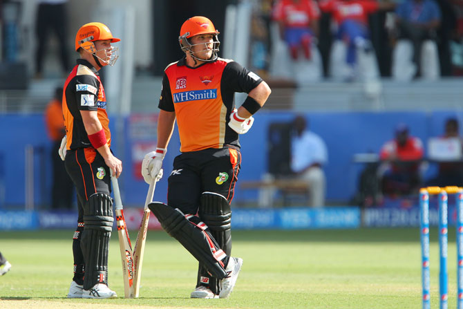 David Warner and Aaron Finch during the course of their partnership