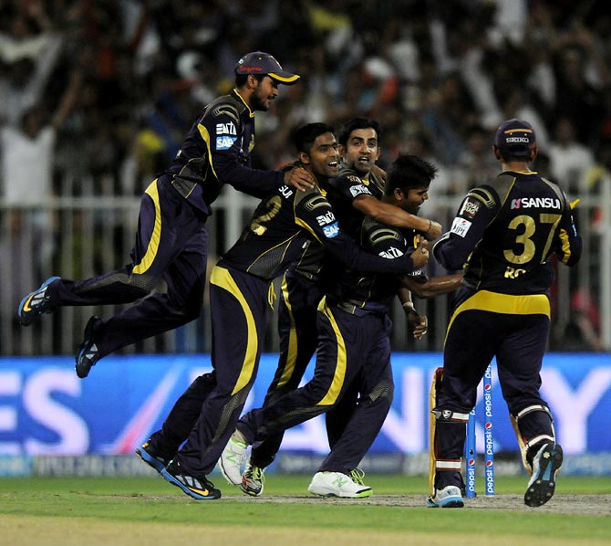 Kolkata Knight Riders players celebrate victory