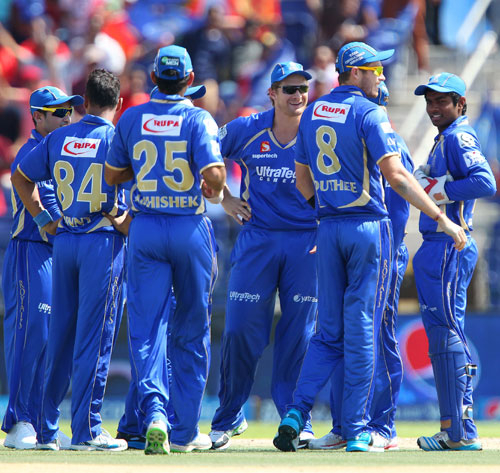 Rajasthan Royals players celebrate the fall of a Bangalore wicket