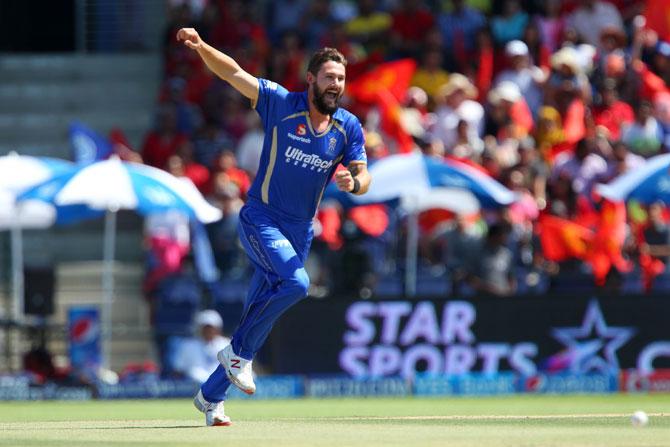 Kane Richardson celebrates a wicket