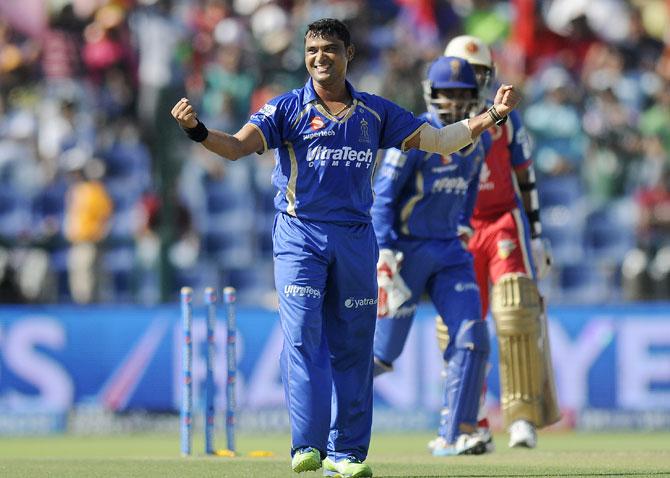 Pravin Tambe celebrates taking a wicket