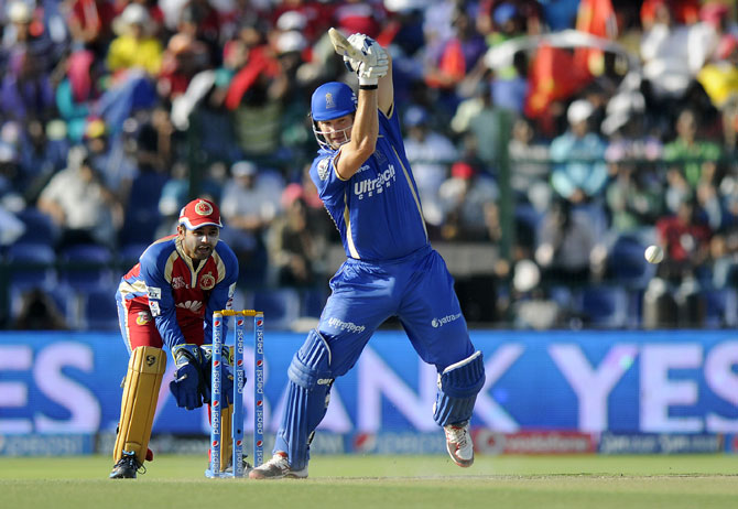 Rajasthan Royals captain Shane Watson plays a shot against Bangalore