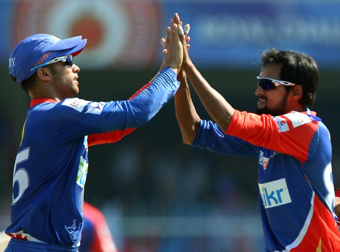 Shahbaz Nadeem (right) celebrates with JP Duminy after taking the wicket of Ambati Rayudu