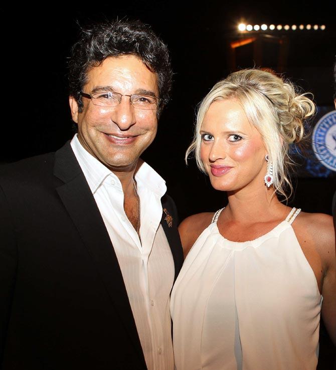 Wasim Akram with his wife Shaniera