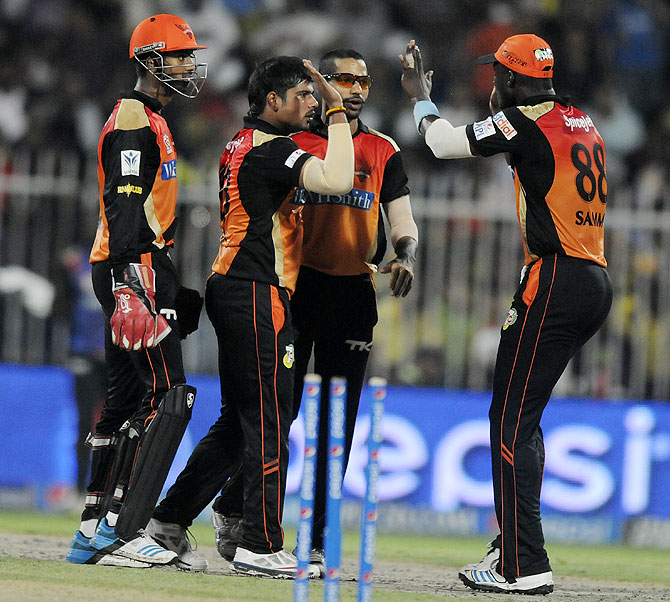 Karn Sharma of the Sunrisers Hyderabad celebrates the wicket of Brendon McCullum of The Chennai Superkings on Sunday