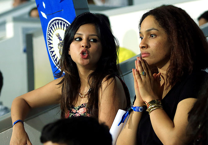 Sakshi Dhoni and Masaba Gupta watch the match between Chennai Super Kings and Sunrisers Hyderbad on Sunday