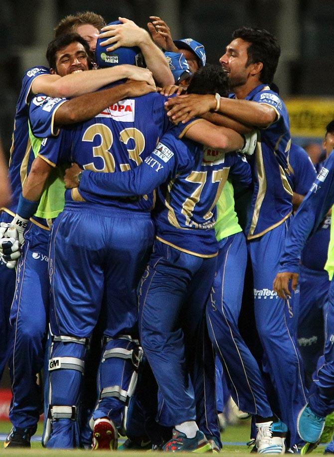 Rajasthan Royals celebrate victory