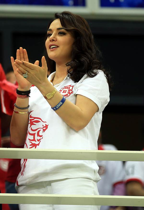 Priety Zinta cheers for Kings XI Punjab during Monday's IPL against Royal Challengers Bangalore in Dubai