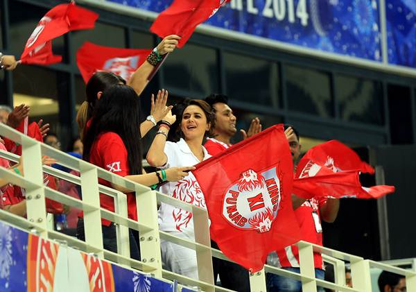 Priety Zinta celebrates with her friends in the stands