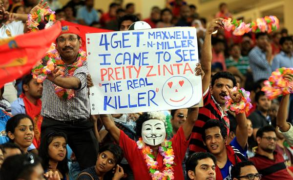 Fans sum up the excitement in the stands during Monday's IPL match between Kings XI and Royal Challengers Bangalore