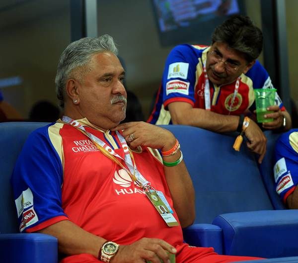 Royal Challengers Bangalore owner Vijay Mallya during the closing stages of the match