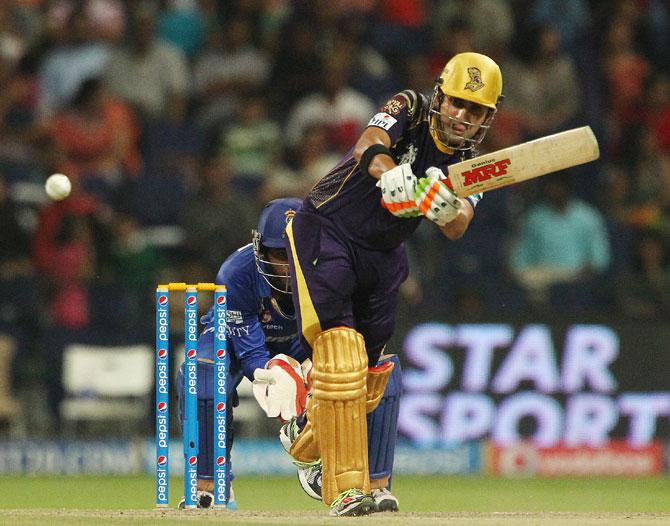 Kolkata captain Gautam Gambhir hits a shot against Rajasthan