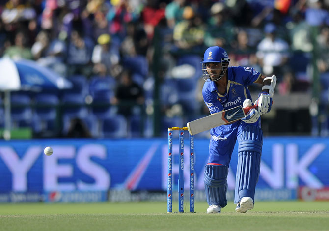 Ajinkya Rahane plays a shot