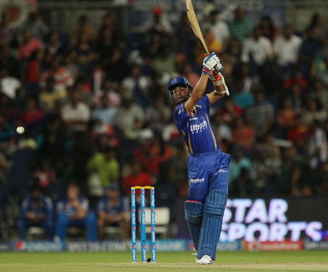 Ajinkya Rahane hits a shot