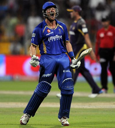 Shane Watson celebrates after victory is clinched