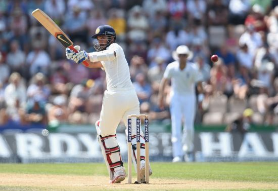 Ajinkya Rahane scores runs during Day 3 of the Test
