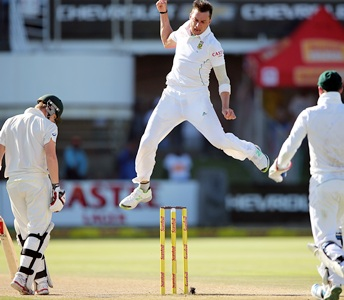 Dale Steyn of South Africa celebrates getting a wicket