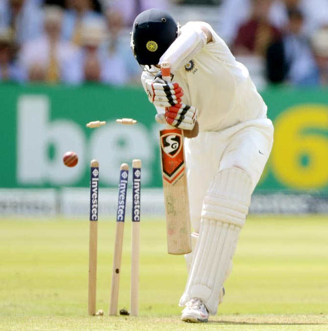 Cheteshwar Pujara of India is bowled by Ben Stokes of England during day one of the second Test match at Lord's