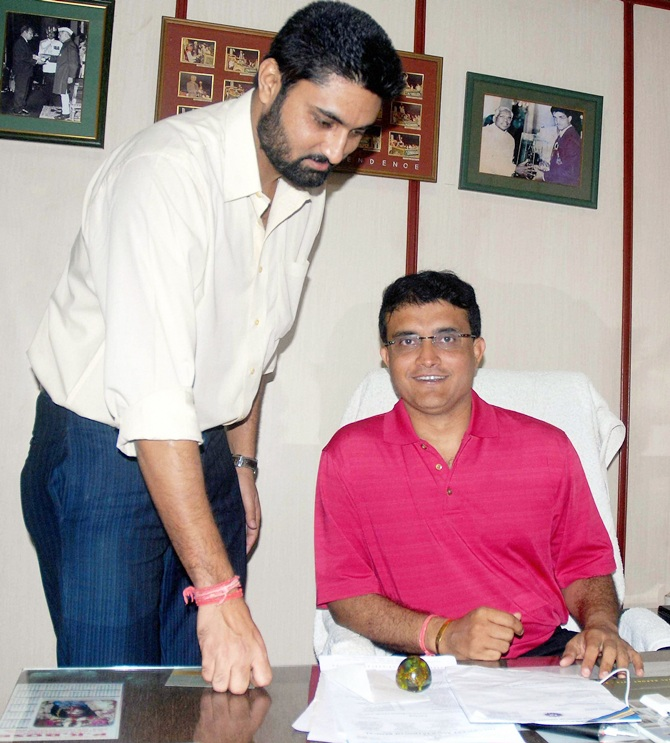 Sourav Ganguly, right