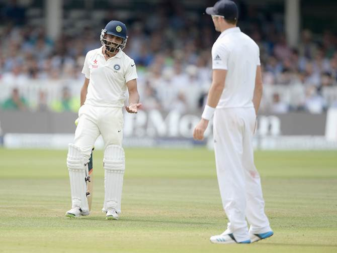 Ravindra Jadeja and James Anderson exchange words during Day 4 of the second Test between India and England at Lord's
