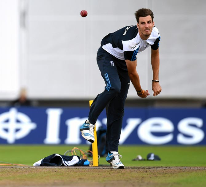 Pace bowler Steven Finn in action during England nets