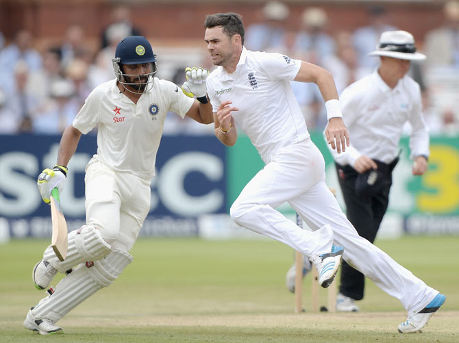 ames Anderson of England and Ravindra Jadeja of India during the second Test at Lord's