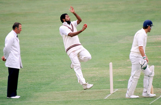 Andy Roberts of the West Indies in action