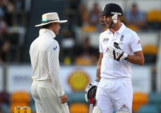 Michael Clarke and James Anderson in a sledging duel during the return Ashes Test series in November last year. Clarke was fined 20 percent of his match fee after he was caught on the stump microphone telling Anderson to get ready for a 'broken' arm.
