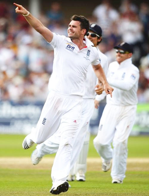 James Anderson celebrates after picking a wicket