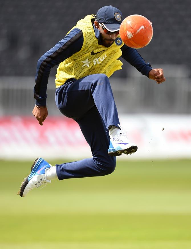 Ravindra Jadeja of India plays football during the nets session