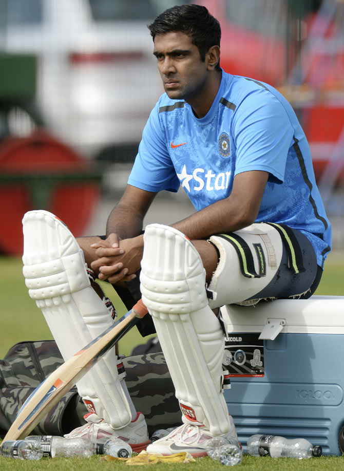 India's Ravichandran Ashwin looks on during a training session on Tuesday